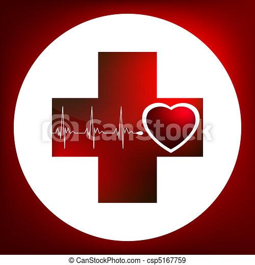 Heart and heartbeat symbol. Easy Ed - csp5167759