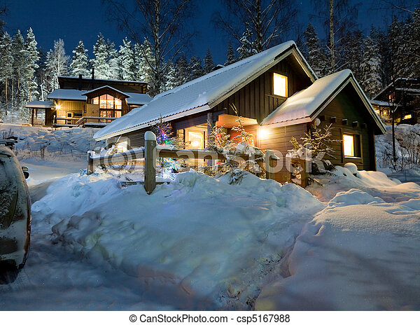 Cottage settlement in the New Year's Eve - csp5167988