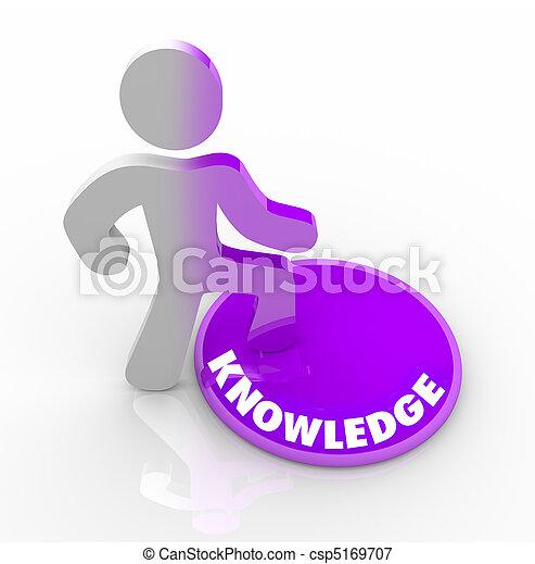 persona, Caminar, En, conocimiento, botón - csp5169707