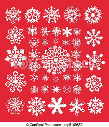 Snowflakes collection on the red - csp5169859
