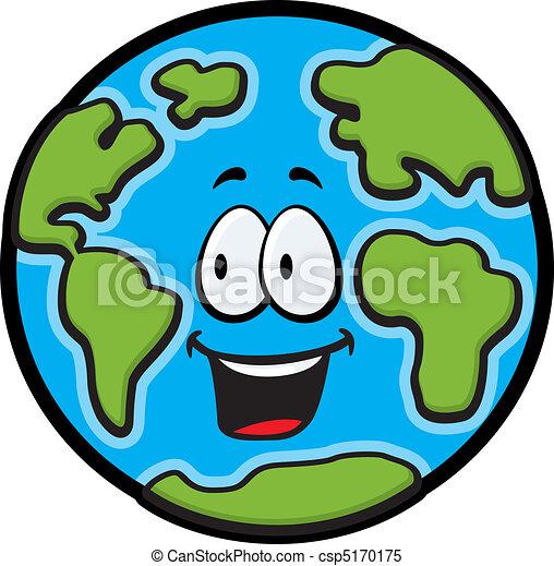 Clipart vectorial de tierra, sonriente - Un, caricatura, planeta ...