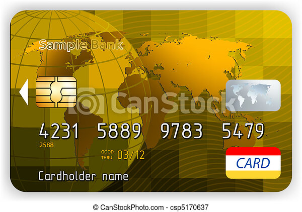 Vector gold credit cards, front vie - csp5170637