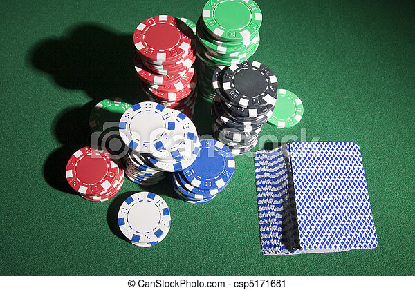 Stock Photography of Gambling chips - Multi colored poker chips