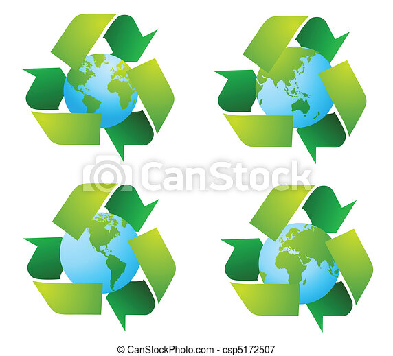 World globe with recycle signs - csp5172507