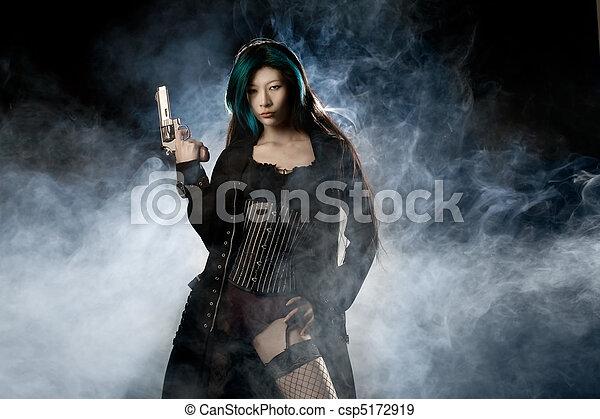 Asian femme fatale rubbing clit on the floor 2