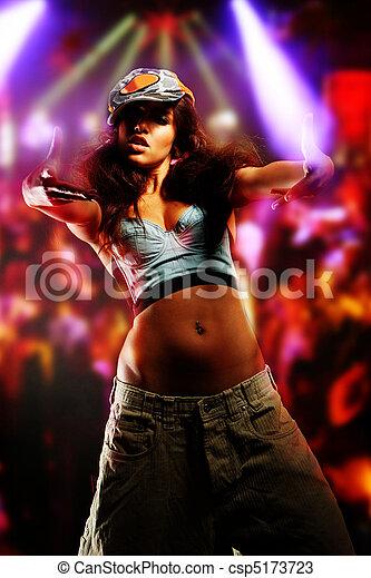young nice girl dancing modern dances