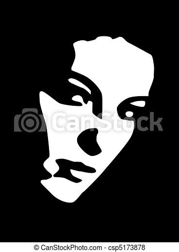 black and white portrait of beautiful young woman - csp5173878