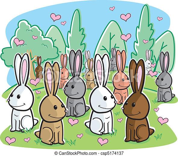 Ilustraciones vectoriales de conejo, amor - Un, ramo, conejos ...