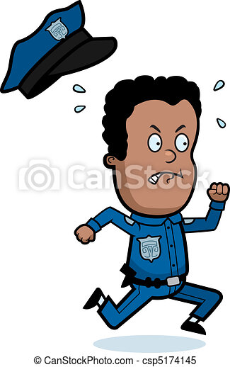 Police Officer Running - csp5174145