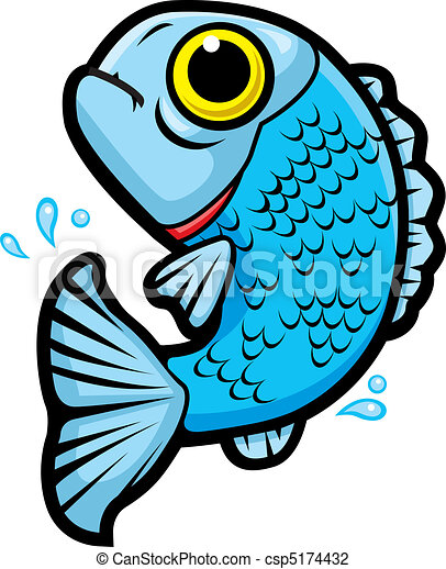 stock illustration of fish jumping out of the water, with some