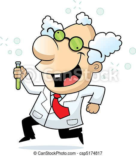 happy cartoon mad scientist running and... csp5174817 - Search Clipart ...