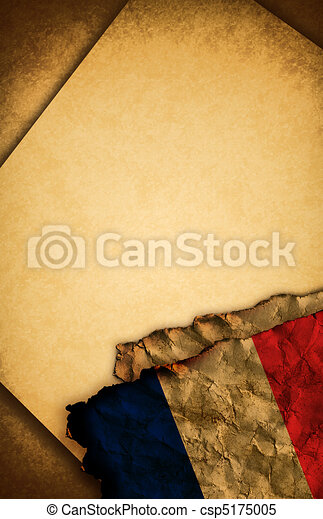 French flag and old paper - csp5175005