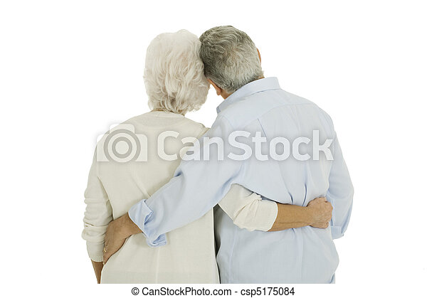 happy elderly couple embraced from behind - csp5175084