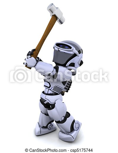 robot with a sledge hammer - csp5175744