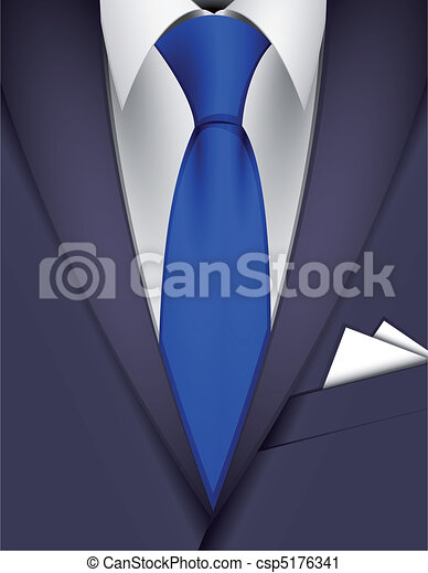 clip art vecteur de cravate complet suit bleu cravate