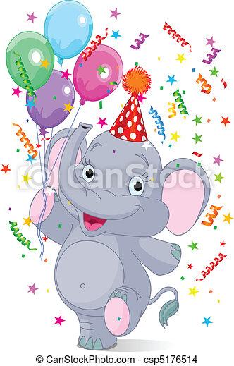 Baby elephant birthday  - csp5176514