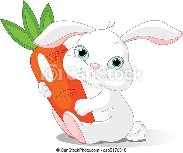 Rabbit holds giant carrot - csp5176518