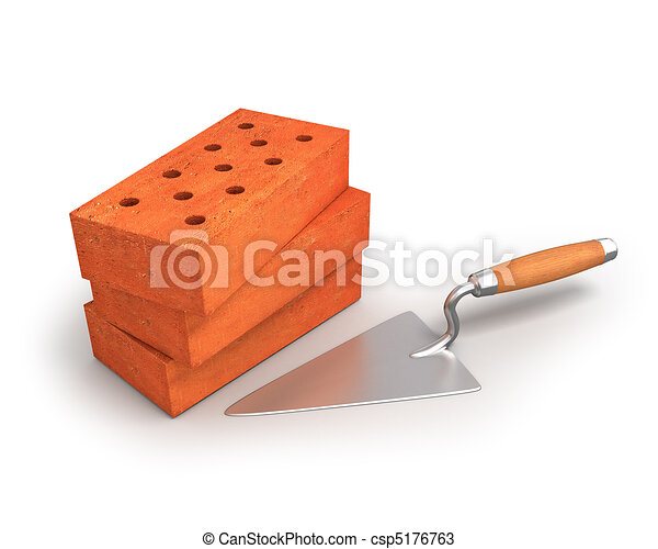 Bricks and trowel - csp5176763