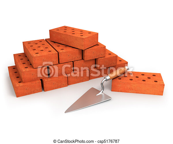 Trowel and stack of bricks isolated on white  - csp5176787