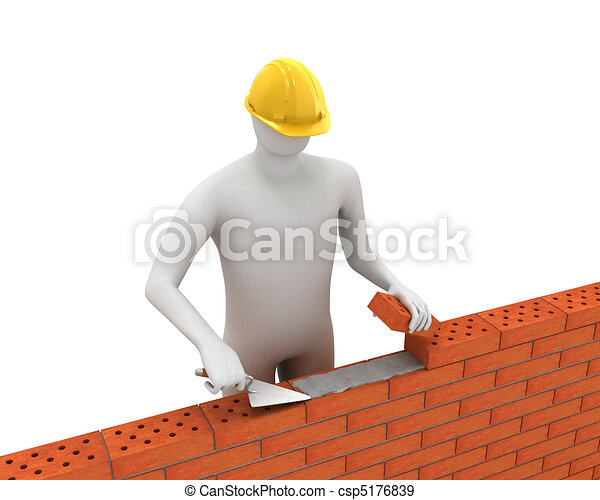 3D white builder lays bricks - csp5176839