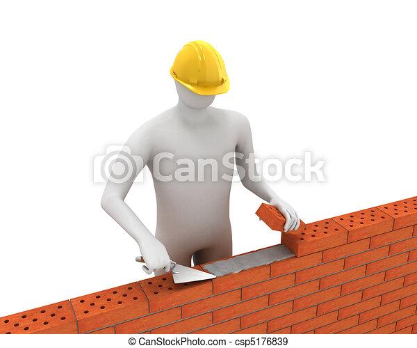 3D white builder lays bricks - csp5176839