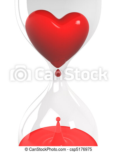 Hourglass with heart and blood closeup  - csp5176975