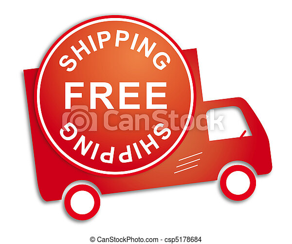Sticker free shipping red truck - csp5178684
