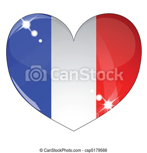 Vector heart with France flag texture - csp5179566