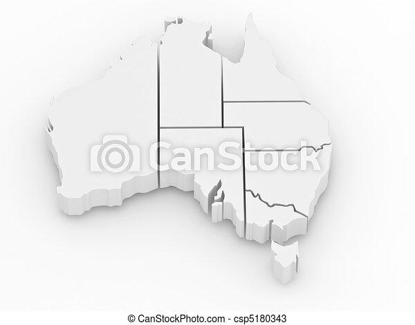 Three-dimensional map of Australia - csp5180343