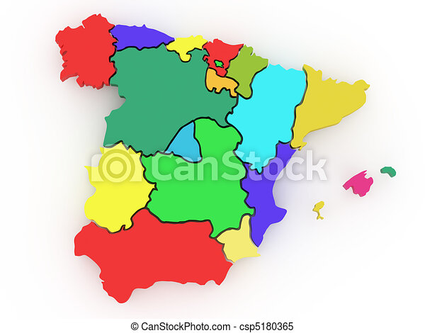 Three-dimensional map of Spain. 3d - csp5180365