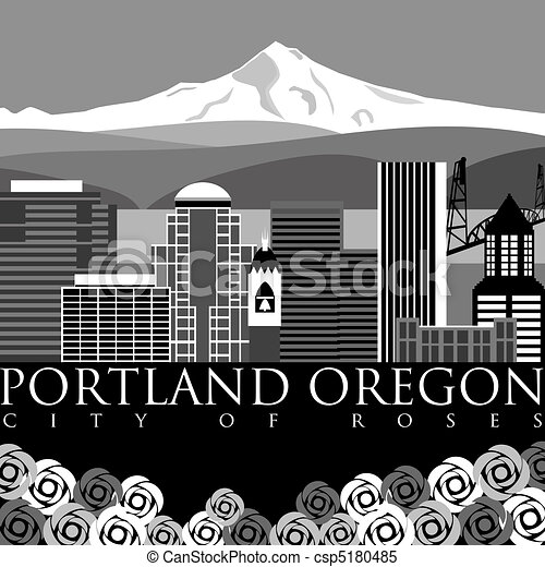 Portland Downtown Skyline with Mount Hood and River - csp5180485