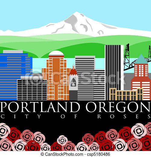 Portland Downtown Skyline with Mount Hood and River Colors - csp5180486