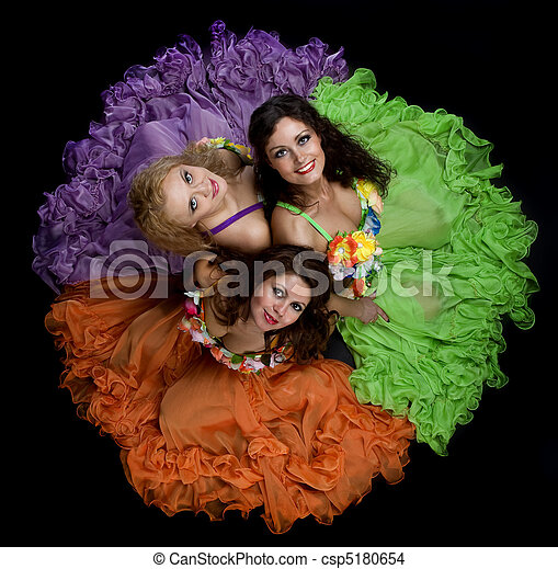 Three woman in color carnival costume - csp5180654