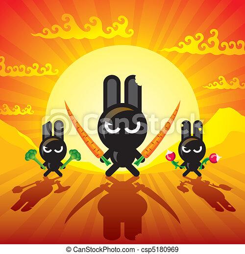 Ninja Rabbits - csp5180969