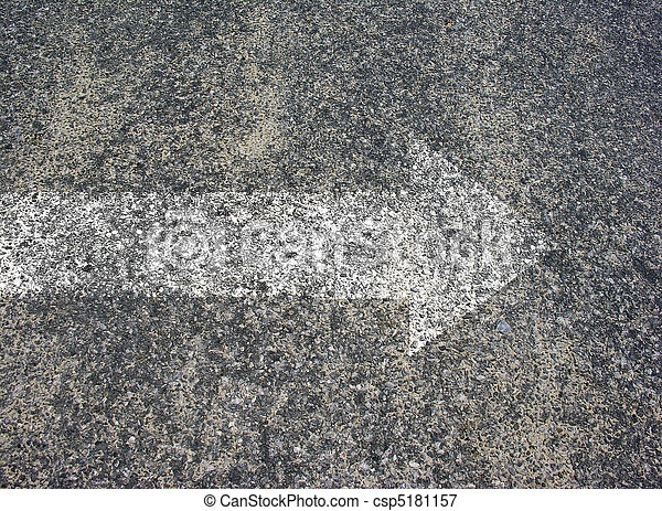 Asphalt texture with white arrow - csp5181157