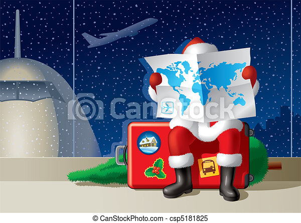 Santa's Christmas travel - csp5181825