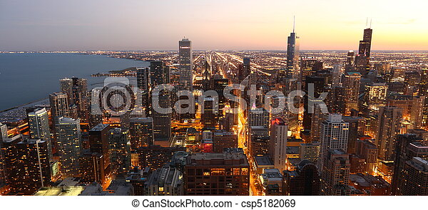 View to Downtown Chicago / USA from high above at twilight  - csp5182069