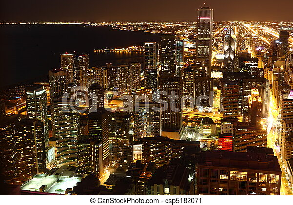 View to Downtown Chicago / USA from high above at night - csp5182071