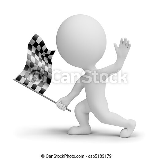 3d small people whitch a checkered flag - csp5183179