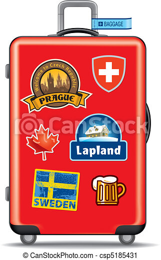 Suitcas for travel with stickers - csp5185431