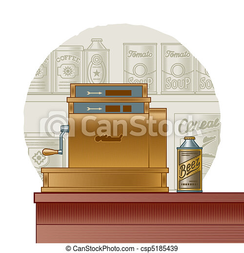 Retro cash register - csp5185439