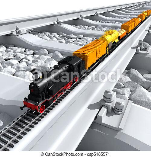 grande, Miniatura, pistas, tren, modelo, paseos - csp5185571