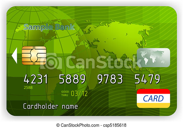 Credit cards, front view (no transparency). EPS 8 - csp5185618