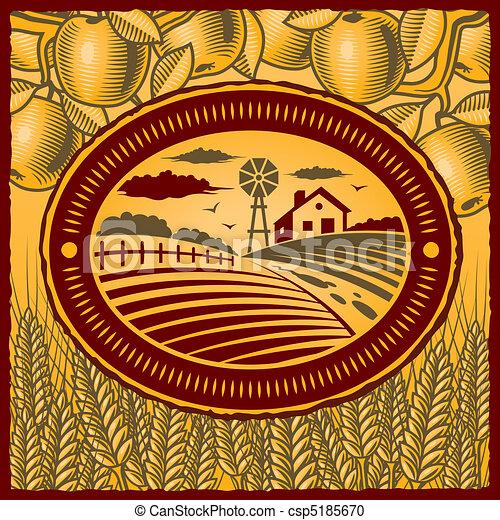 Clipart vettoriali di fattoria retro retro fattoria for Piani di fattoria in stile country