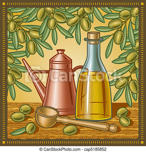 Retro olive oil still life - csp5185852
