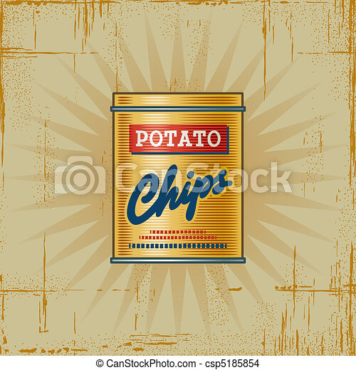 Retro Potato Chips Can - csp5185854