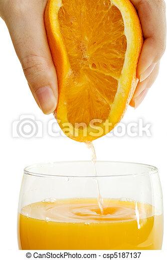Tall Glass Of Orange Juice for Breakfast - csp5187137