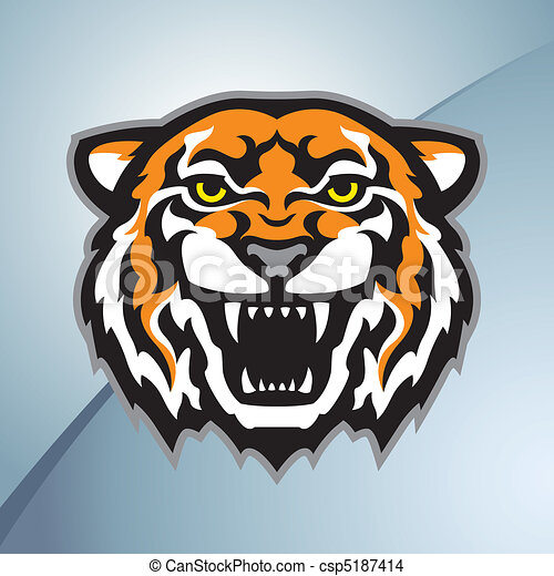 Tiger head mascot color - csp5187414