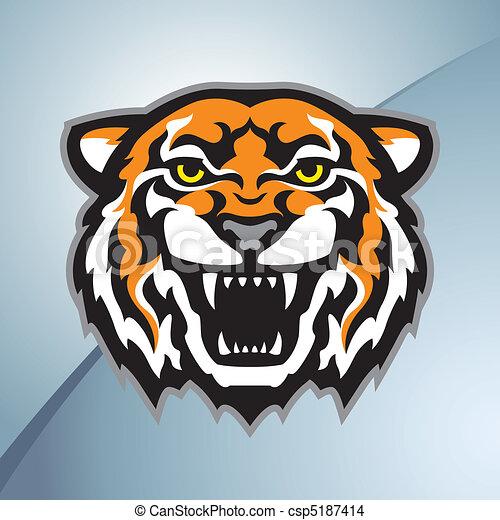 Tiger head mascot color - csp5187414