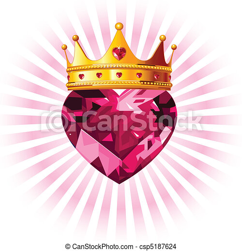 Crystal heart with crown  - csp5187624